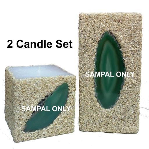 green-2-candles-set